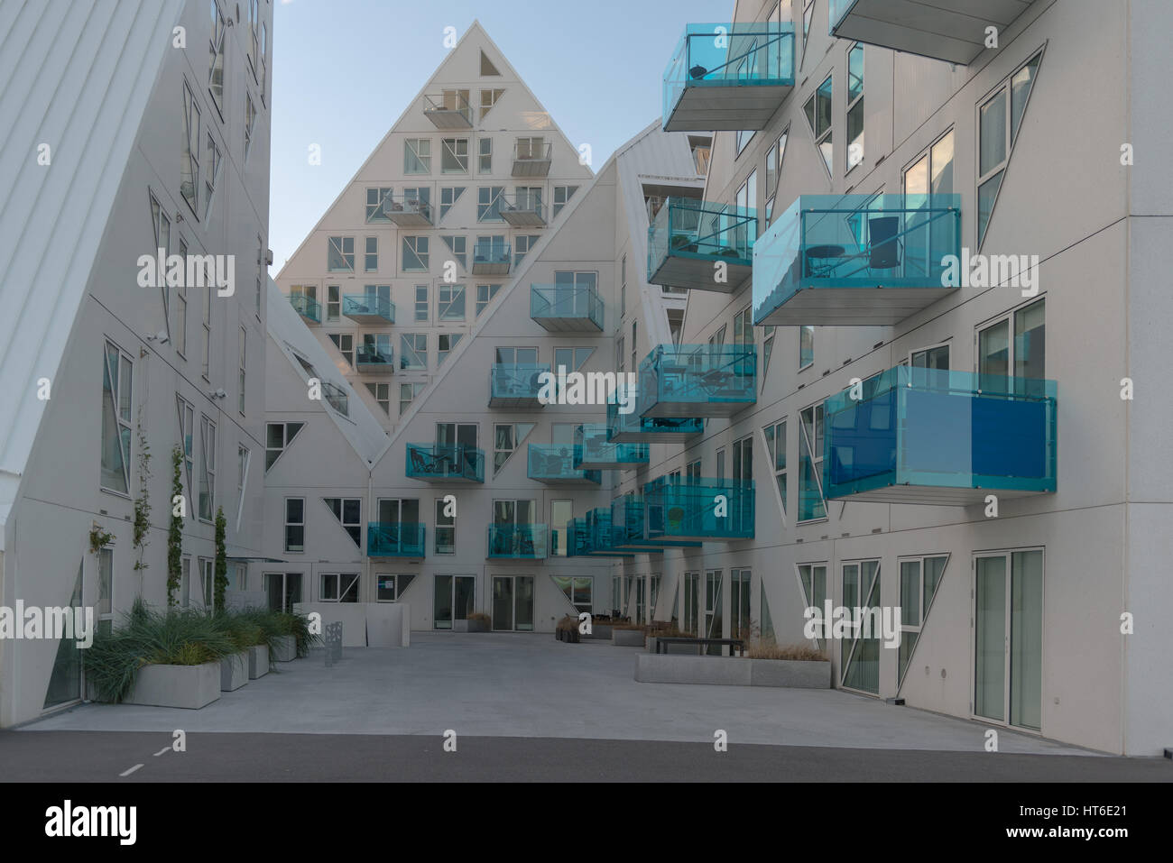 The Isbjerget (Ice  Berg) building in Aarhus Oe, Aaarhus East, an new city quarter at the habor front, Aarhus, North - Stock Image