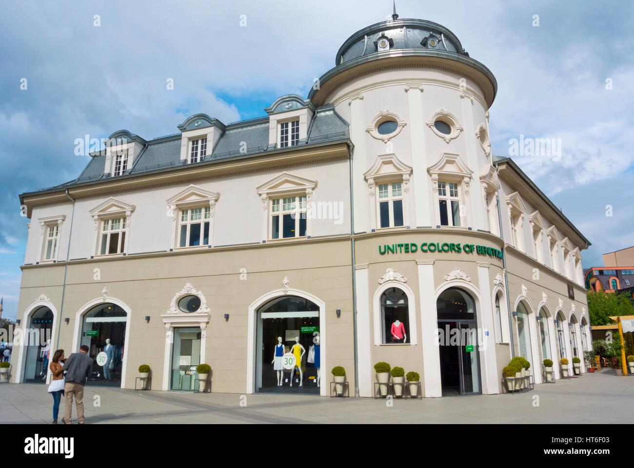 Hotel Union building, now houses Benetton shop, Bulevardi Nene Tereza, Pristina, Kosovo - Stock Image