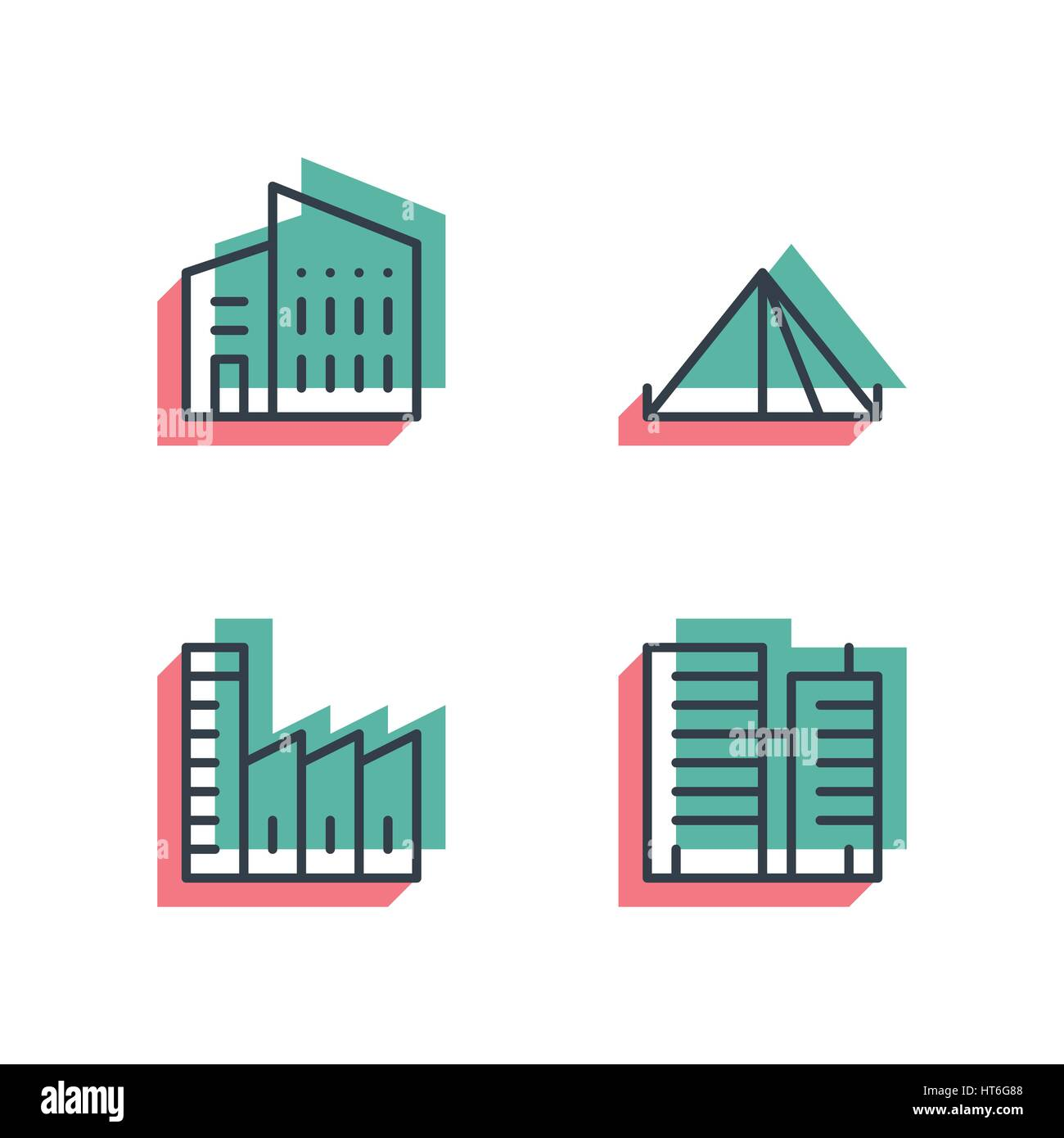 Different house, buildings icon set. Anaglyph 3d. - Stock Image
