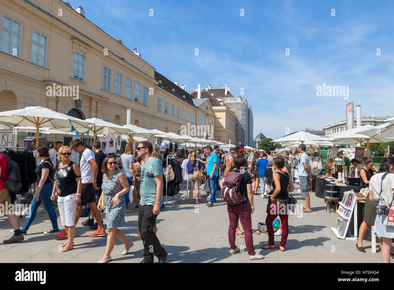 Museum Quarter, Vienna. Market stalls in the MuseumsQuartier, Vienna, Austria - Stock Image