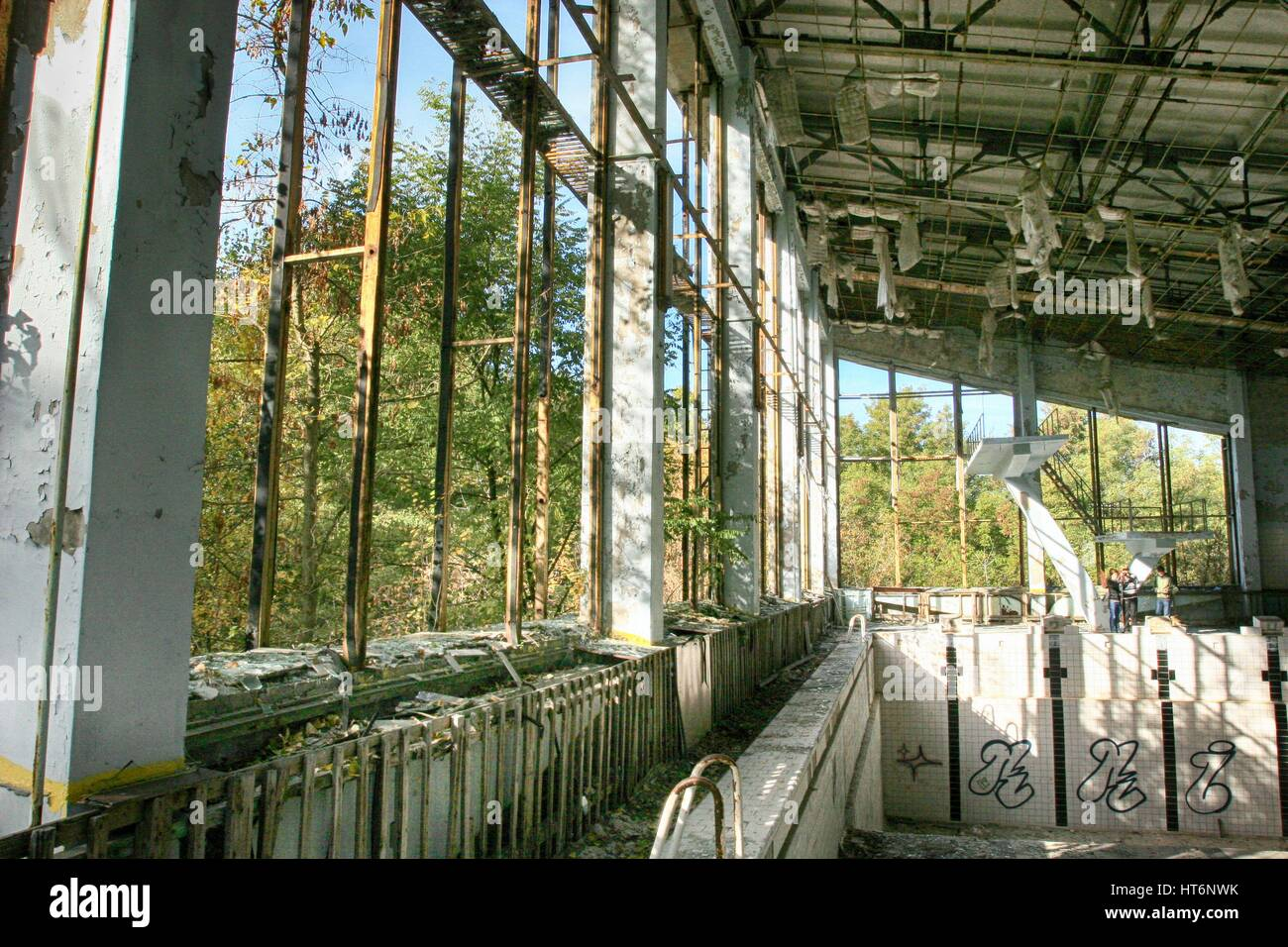 Chernobyl  Pripyat – abandoned building of swimming pool after Chernobyl disaster - Stock Image