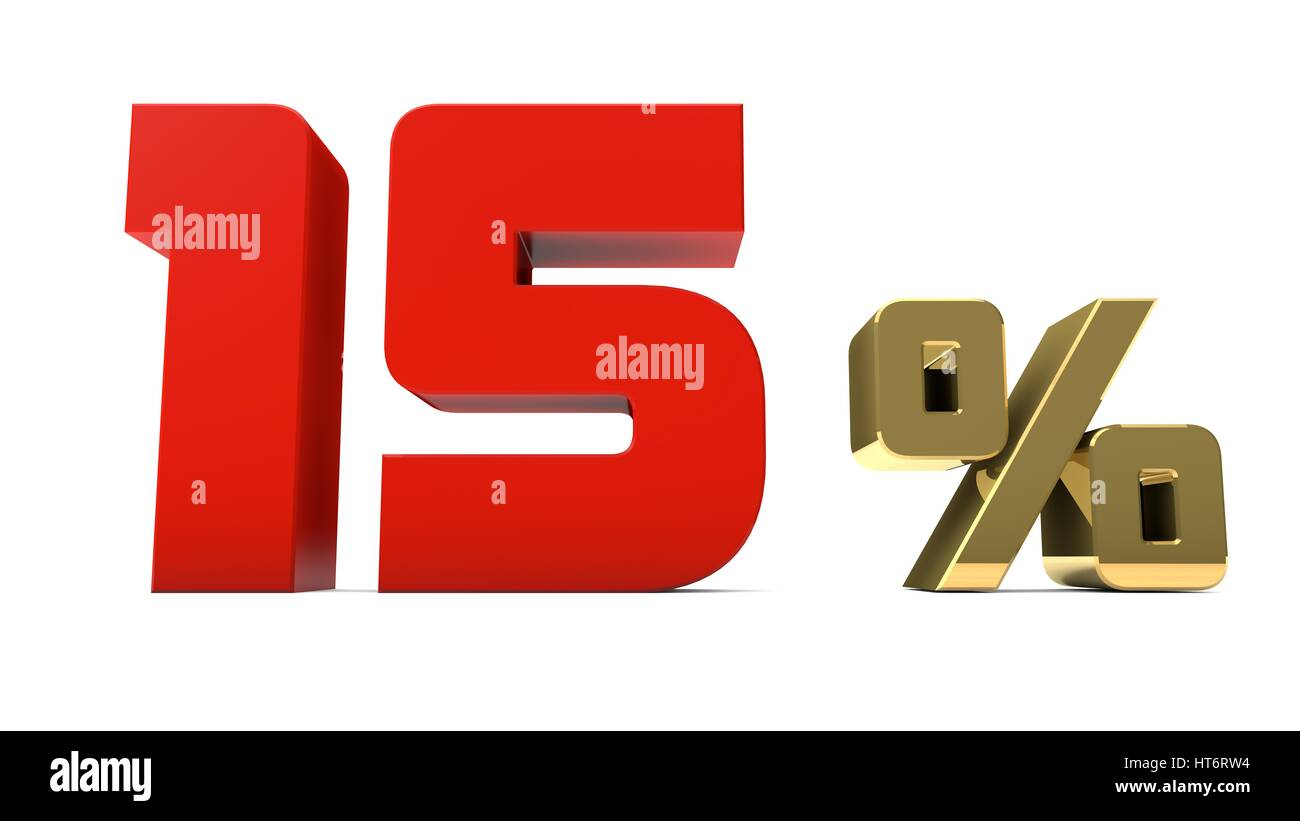 15% percent red and gold text isolated on white 3d render Stock Photo
