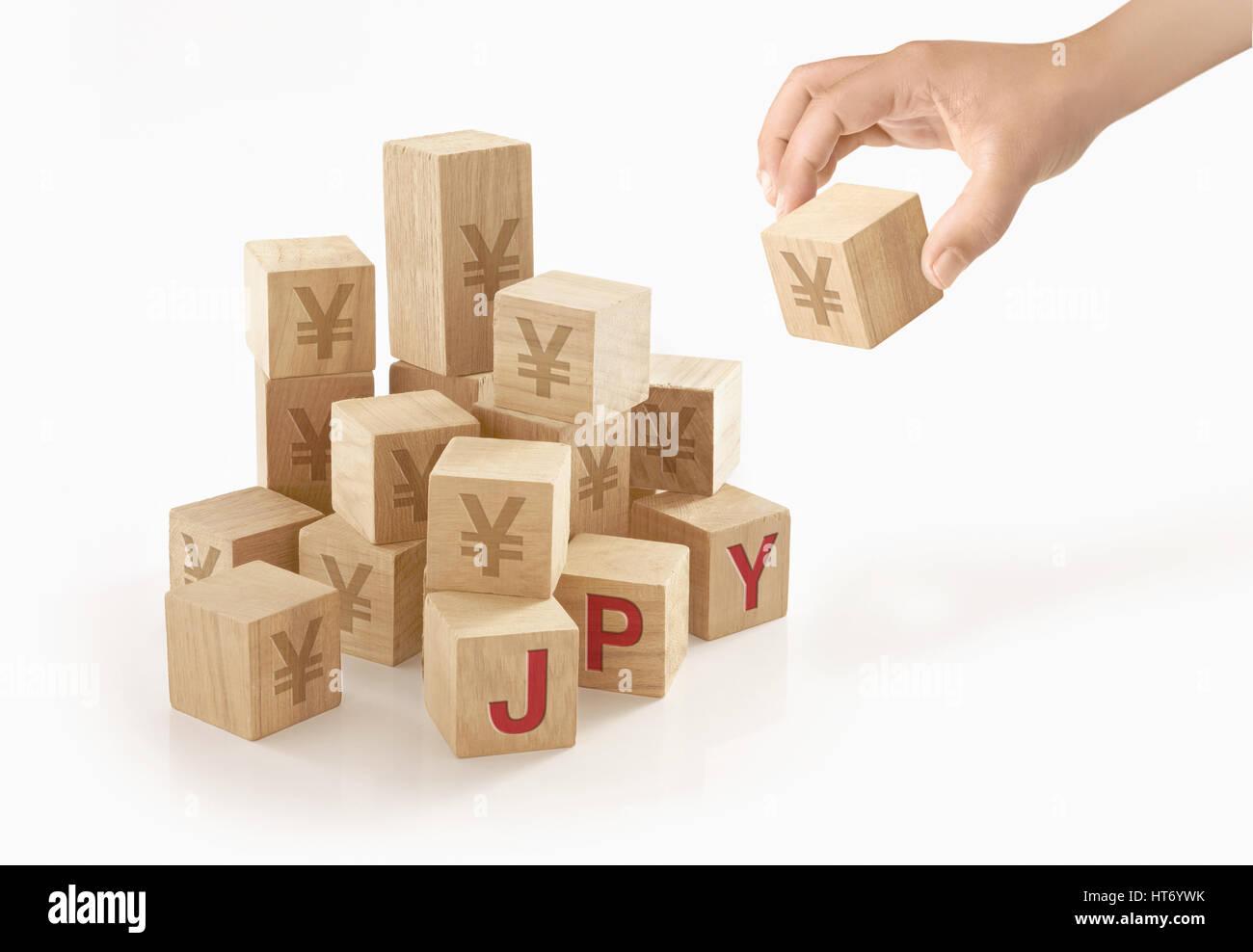 Japanese yen money concept on isolated background. - Stock Image