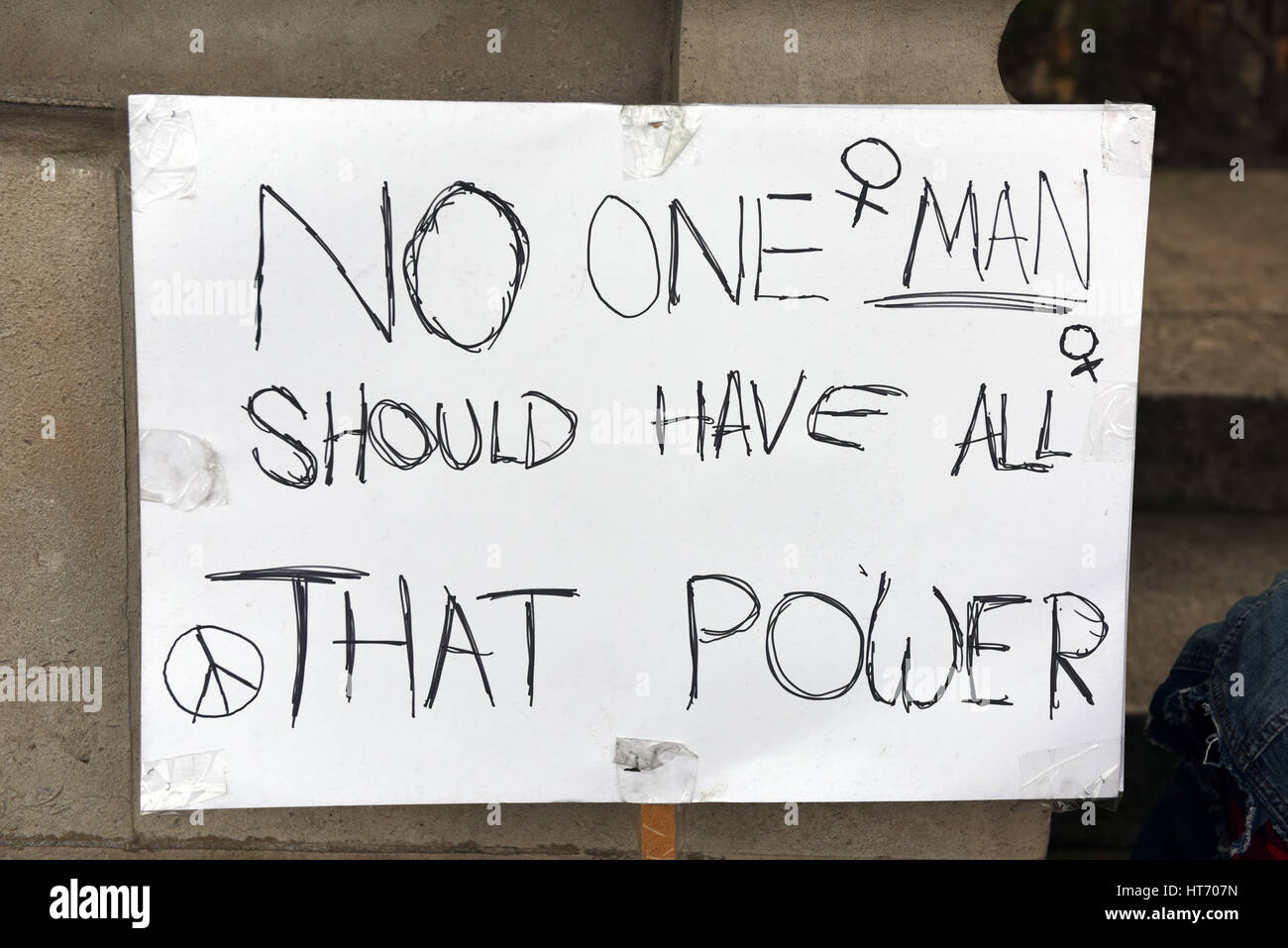 Placard: 'No one Man should have all That Power' - Stop Trump protest in London. - Stock Image