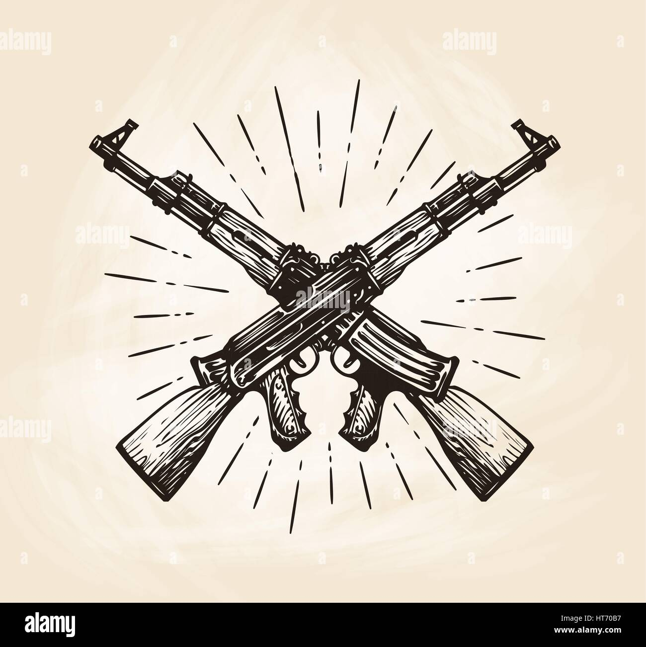 Hand-drawn crossed automatic machines of Kalashnikov, sketch. Weapon vector illustration - Stock Vector