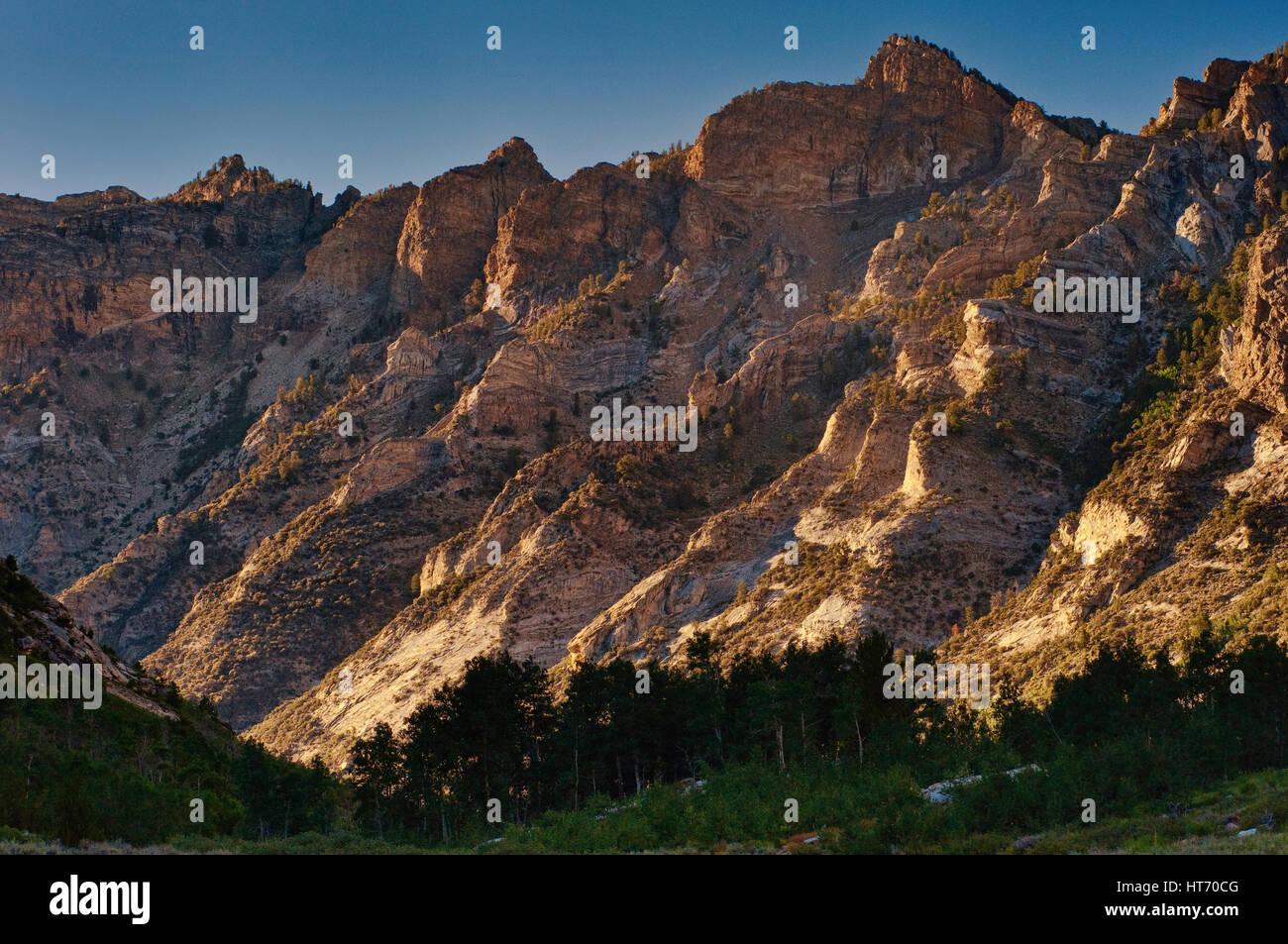 Lamoille Canyon in Ruby Mountains, sunset, near Elko, Nevada, USA - Stock Image