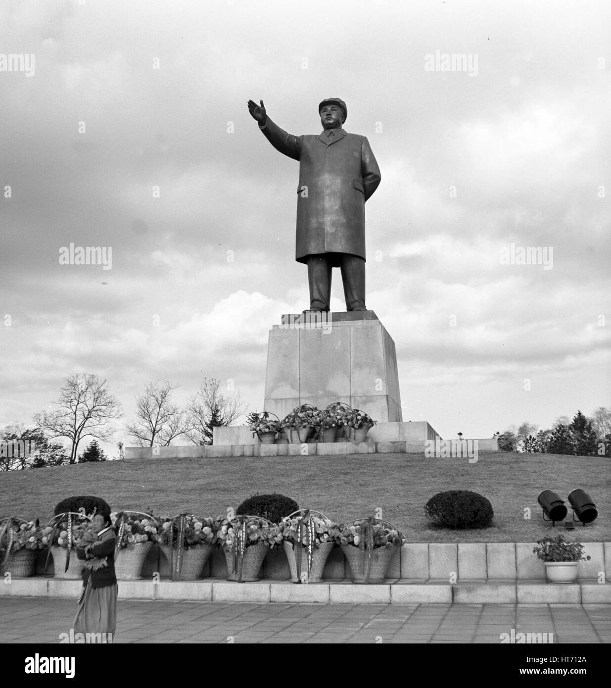 View of a monument of North Korean dictator Kim II Sung (former Kim lr Sen) in Hamhung in the Korean Democratic - Stock Image