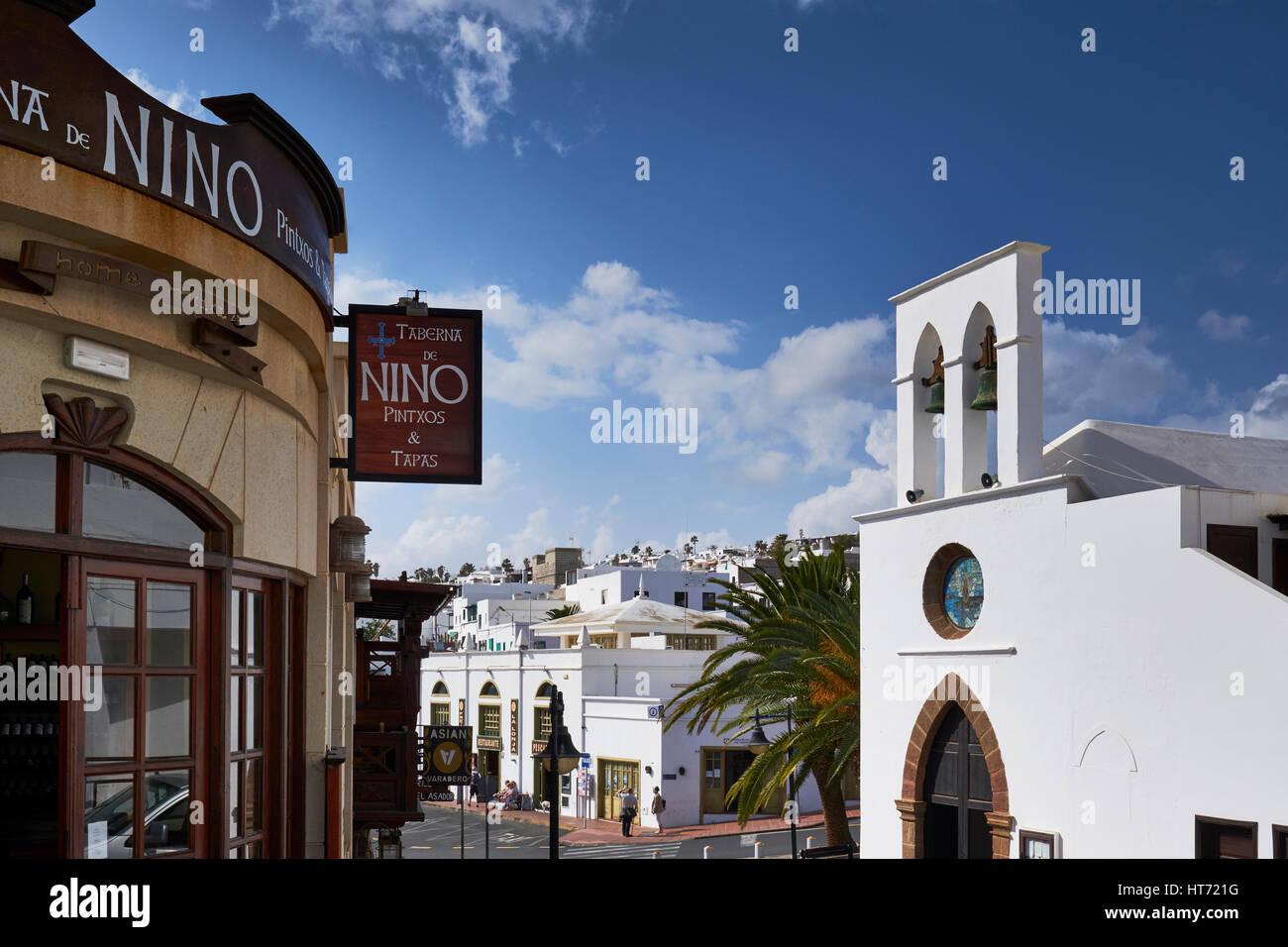Bell Tower, Church of Nuestra Señora del Carmen, Puerto del Carmen, Lanzarote, Canary Islands, Spain. - Stock Image
