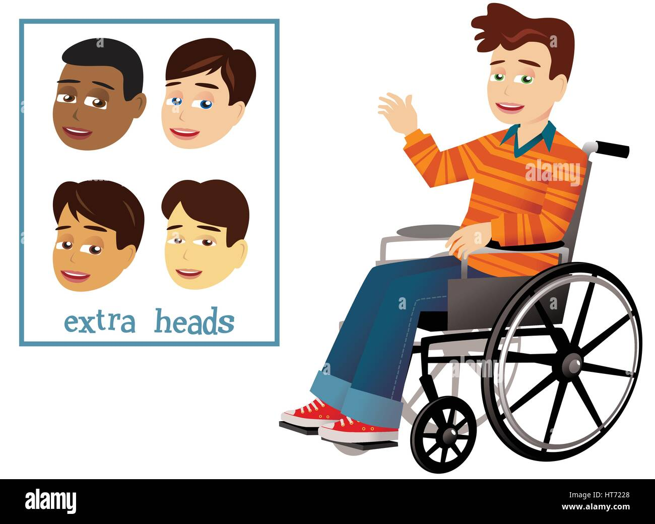An illustration of a young boy in a wheelchair, plus interchangeable heads for different characters. - Stock Vector