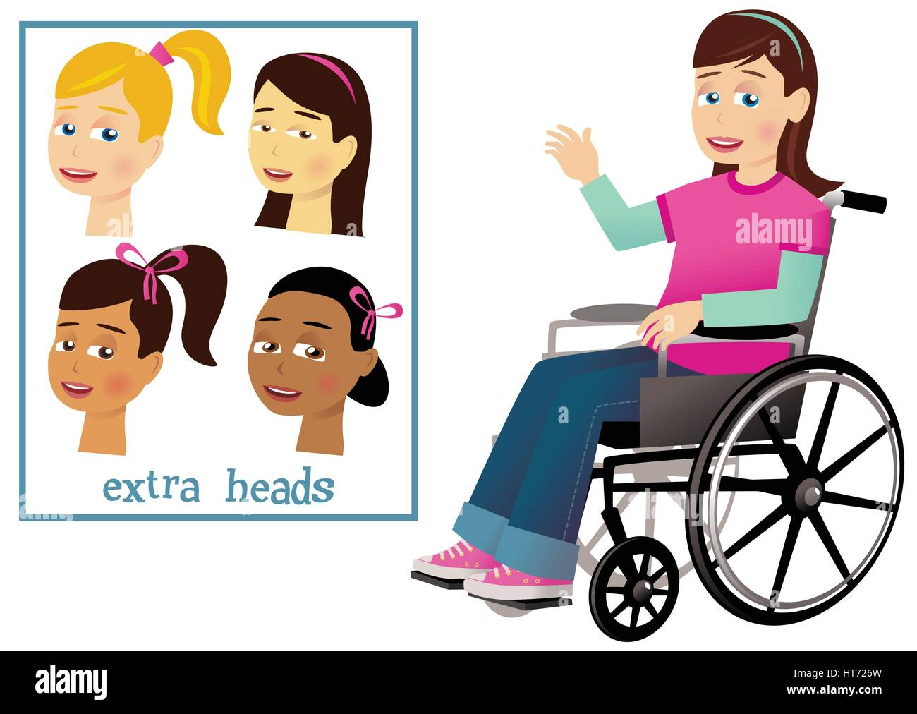 A young girl in a wheelchair, waving.at us. Four spare heads to personalize your image further. - Stock Vector