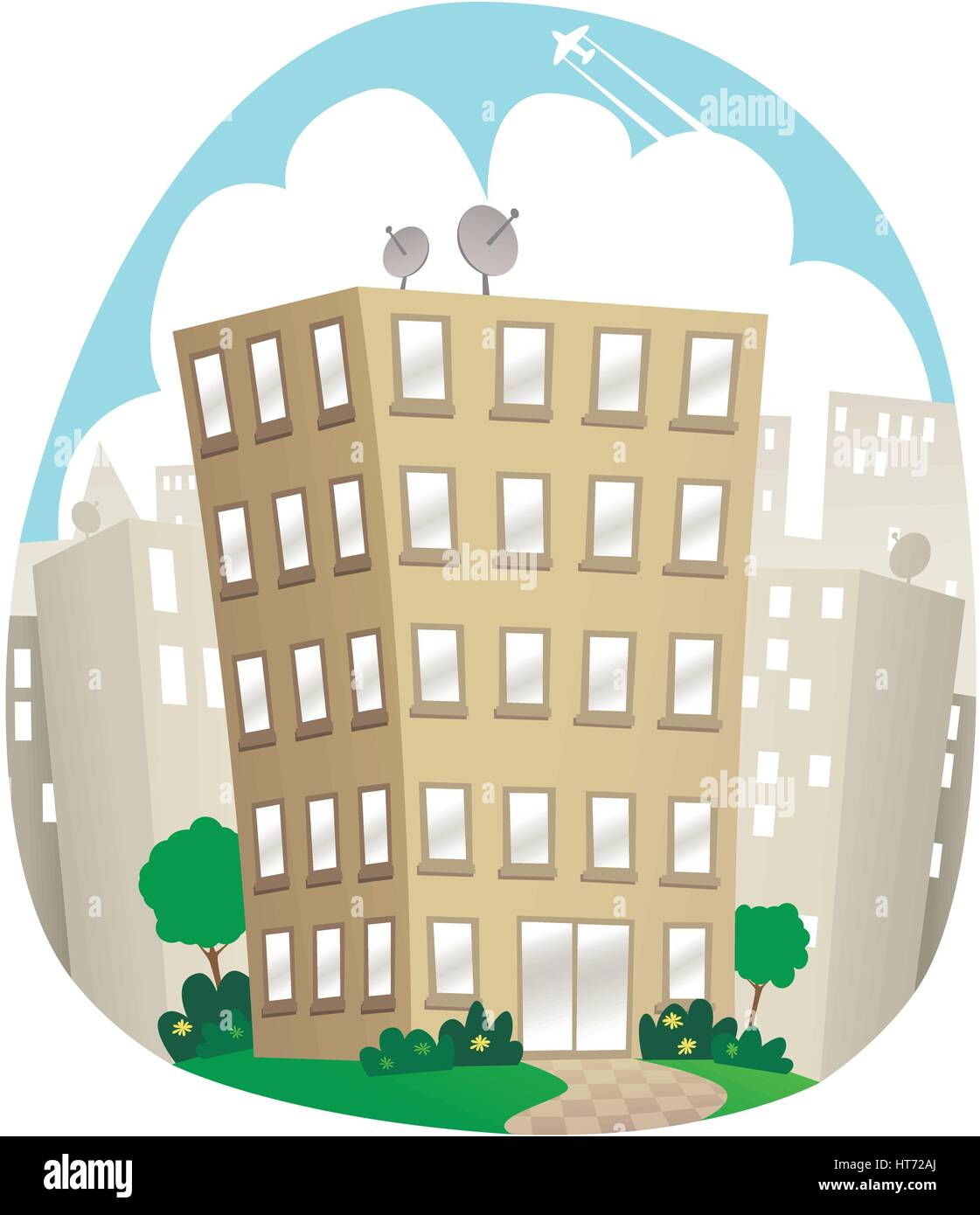 An illustration of a small office block in a city centre. - Stock Vector