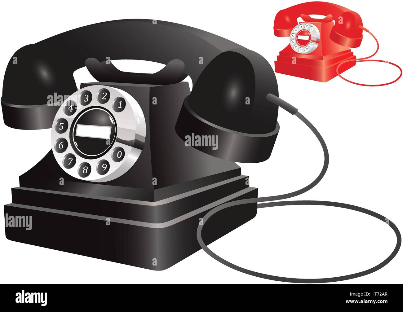 Two illustrations of an old fashioned telephone. One black, and one red. - Stock Image