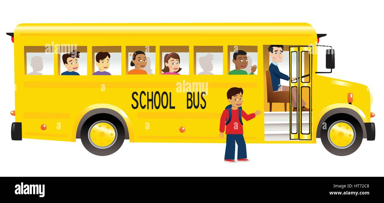 An illustration of a yellow school bus with children. - Stock Vector