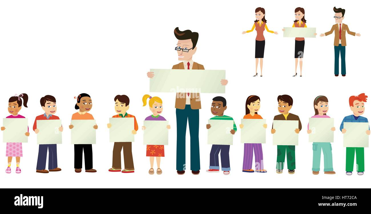 An illustration of a class of schoolchildren and their teacher, holding some blank signs, ready for your own message. - Stock Vector