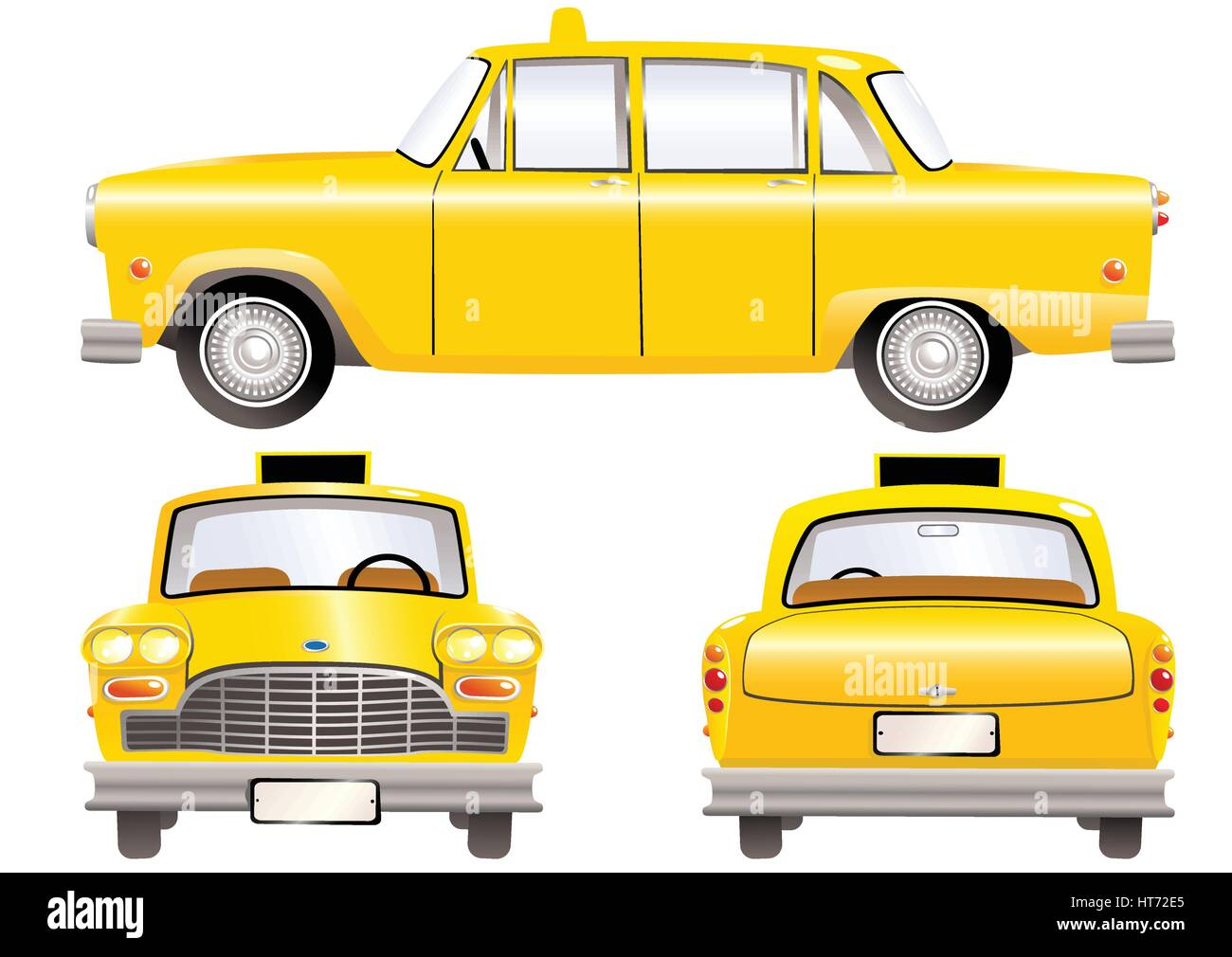 Three illustrations of an old fashioned yellow taxi cab