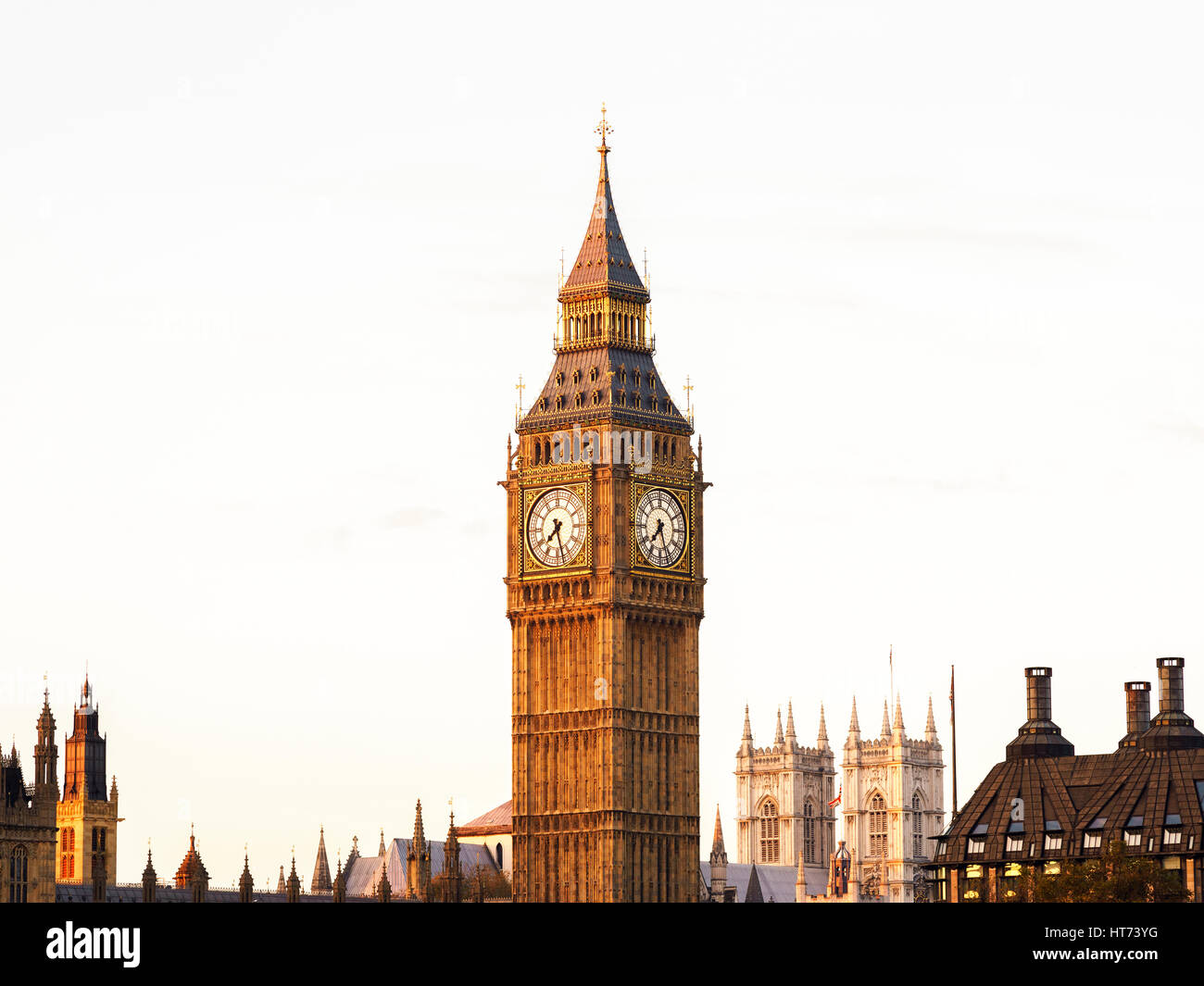 Big Ben and the Houses of Parliament, Westminster, London, UK - Stock Image