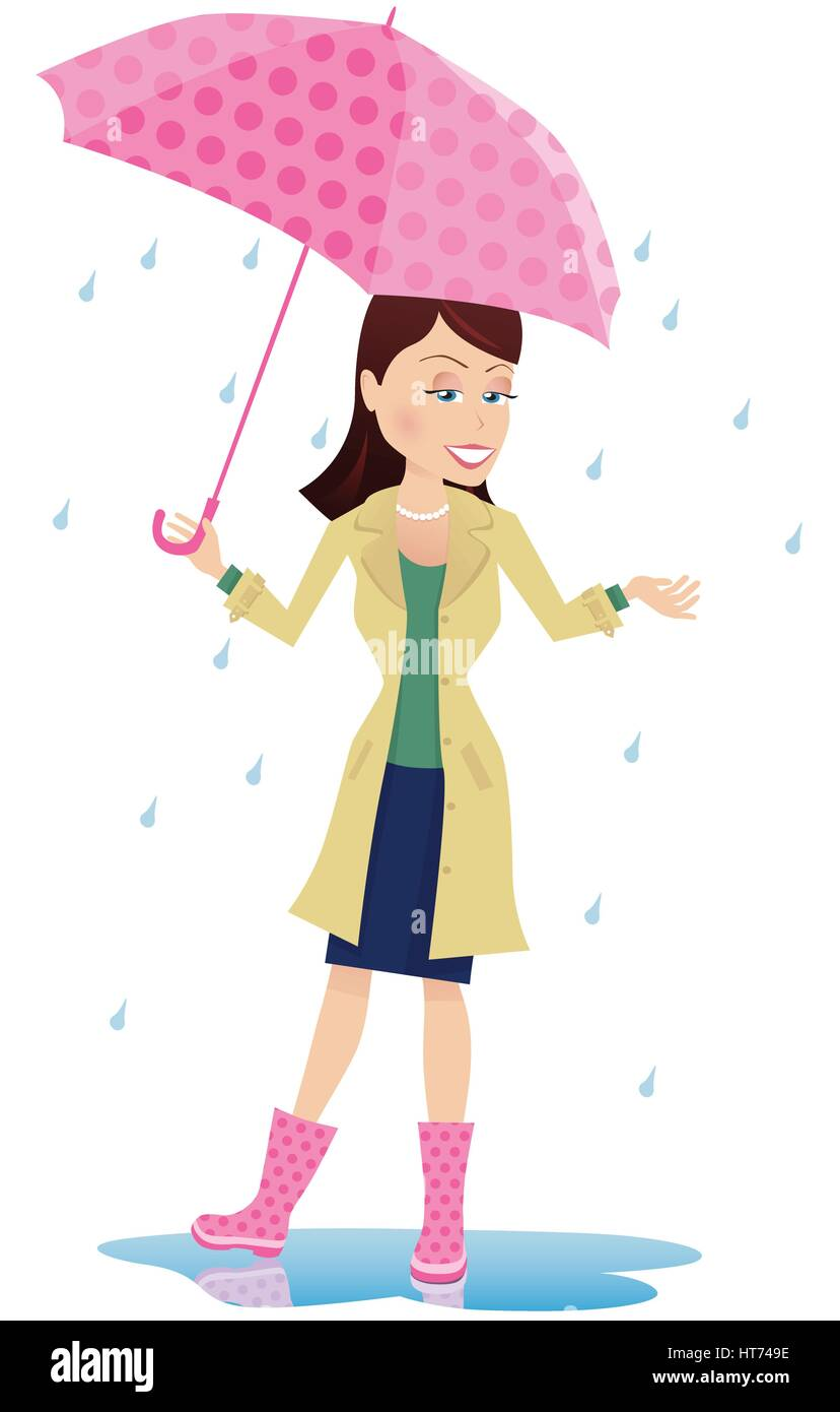 An illustration of a young woman using an umbrella in the rain. - Stock Vector