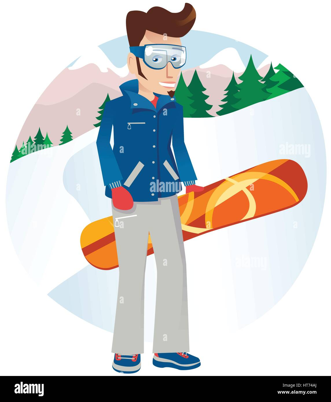 An image of a young male snowboarder posing on the mountainside. - Stock Vector
