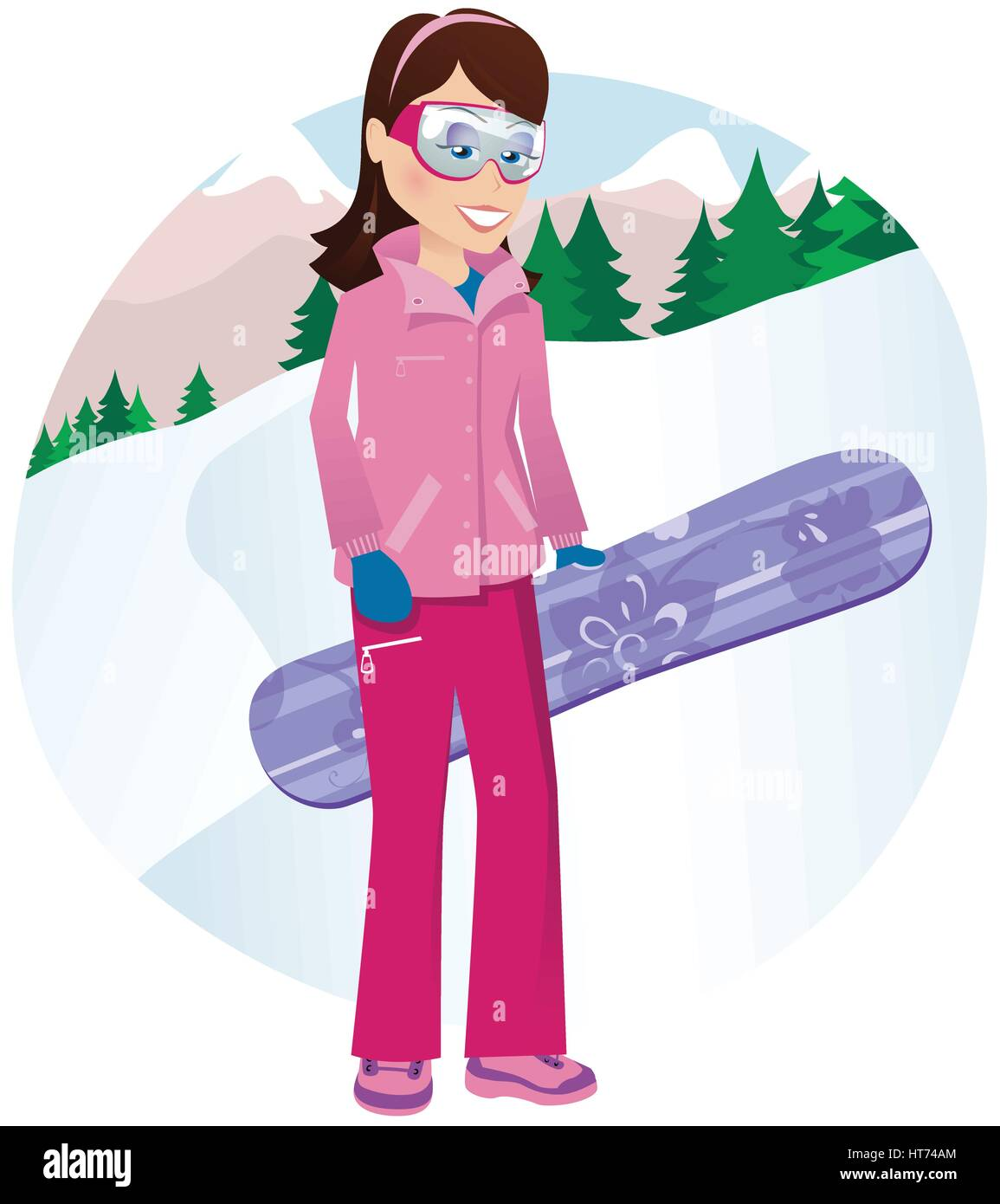 An image of a young female snowboarder posing on the mountainside. - Stock Vector
