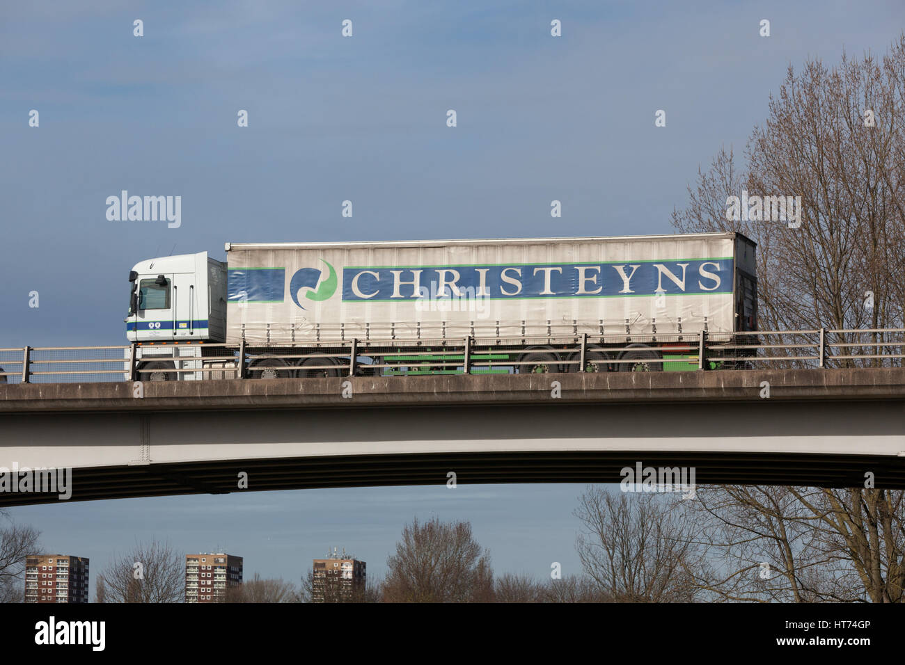 Christeyns cleaning and hygiene products truck travelling through the Midlands. - Stock Image