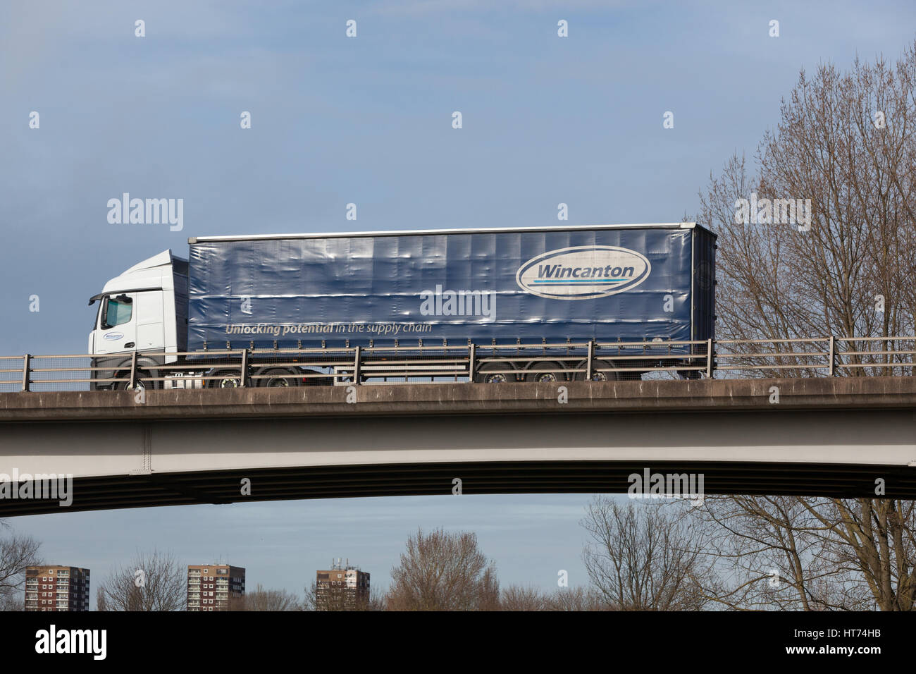 Wincanton Distribution heavy goods vehicle in the Midlands. Stock Photo