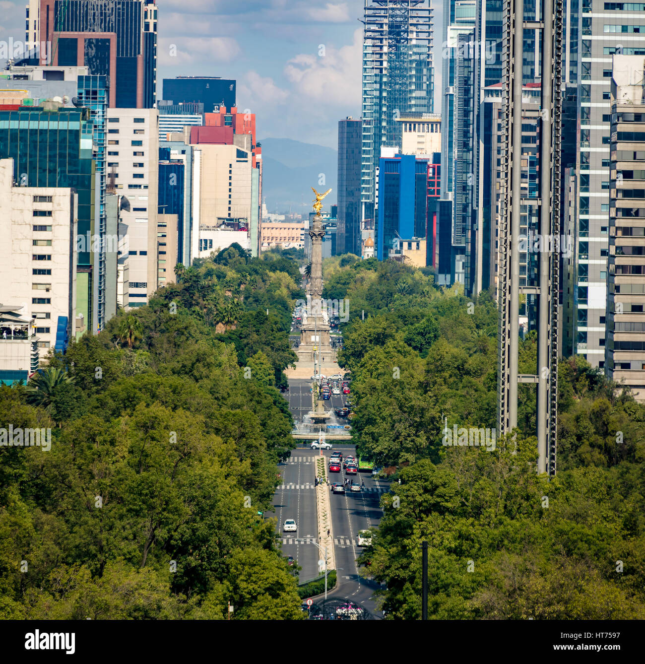 View from above of Paseo de La Reforma avenue and Angel of Independence Monument - Mexico City, Mexico - Stock Image
