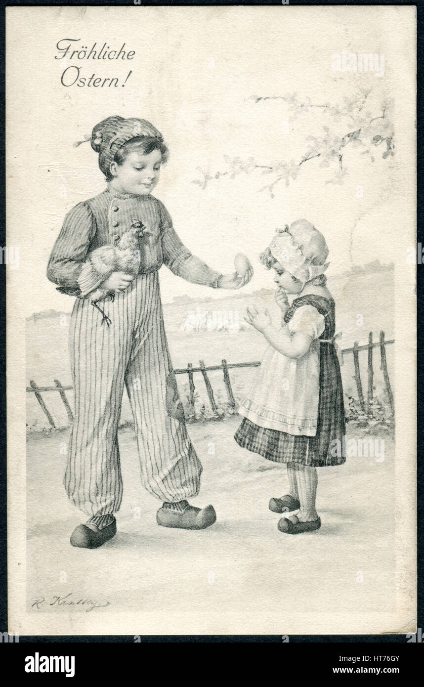 A postcard printed in Austria, shows a boy with a chicken egg on hands gives
