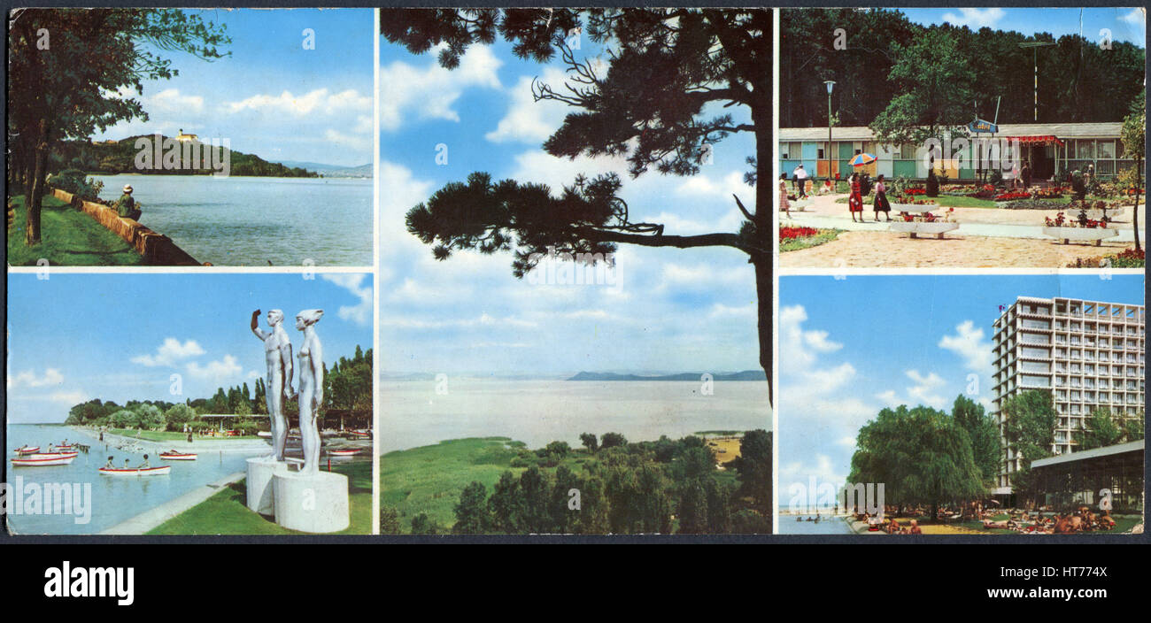 HUNGARY - CIRCA 1983: A postcard printed in Hungary, shows a landscape of the island and its surroundings Balaton, - Stock Image