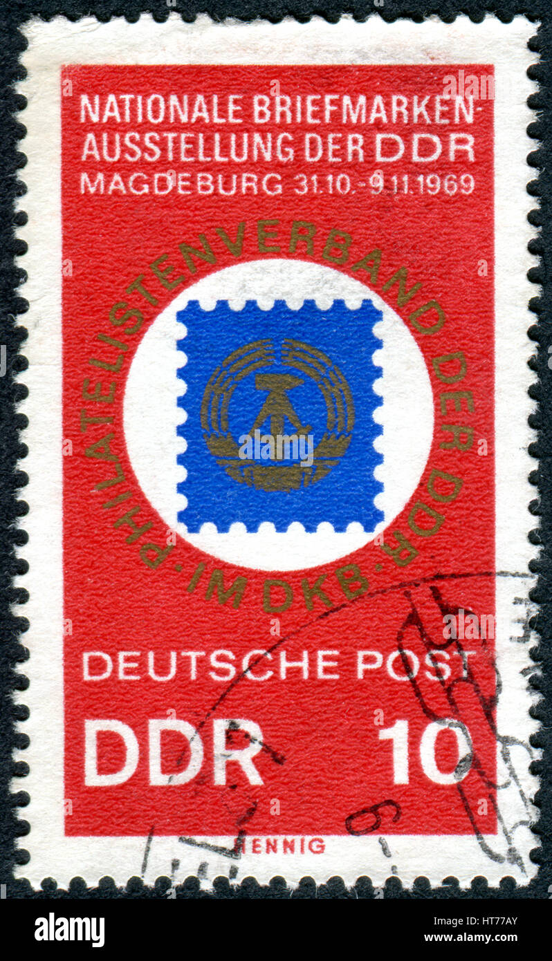 A stamp printed in Germany (GDR), dedicated to National Philatelic Exhibition '20 Years DDR', Magdeburg, - Stock Image