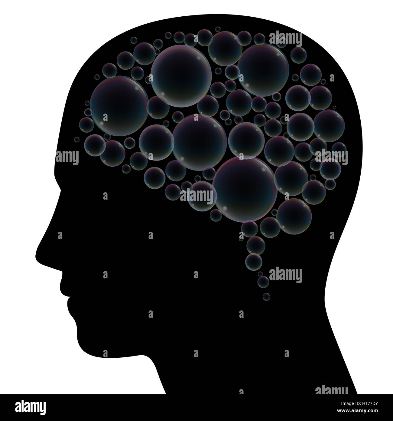 Soap bubbles instead of brain in a human head, as a symbol for fantasy, dreams, languor, confusion, depression, - Stock Image