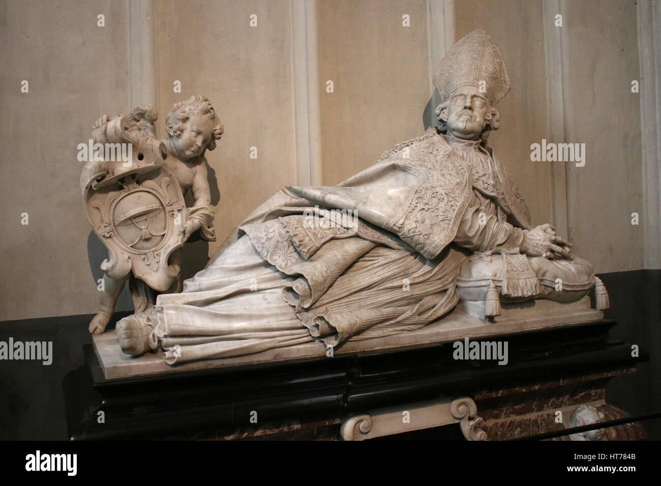 Sarcophagus of  17th century bishop Marius Ambrosius Capello by sculptor Artus Quellinus The Younger, Antwerp Cathedral, - Stock Image