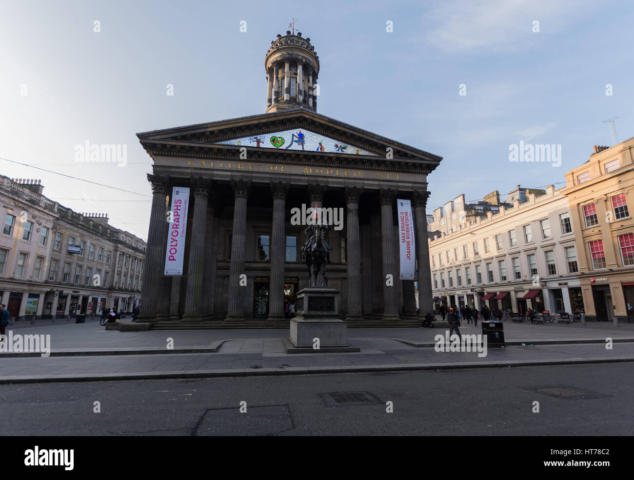 Duke of Wellington Statue and GOMA Museum - Stock Image