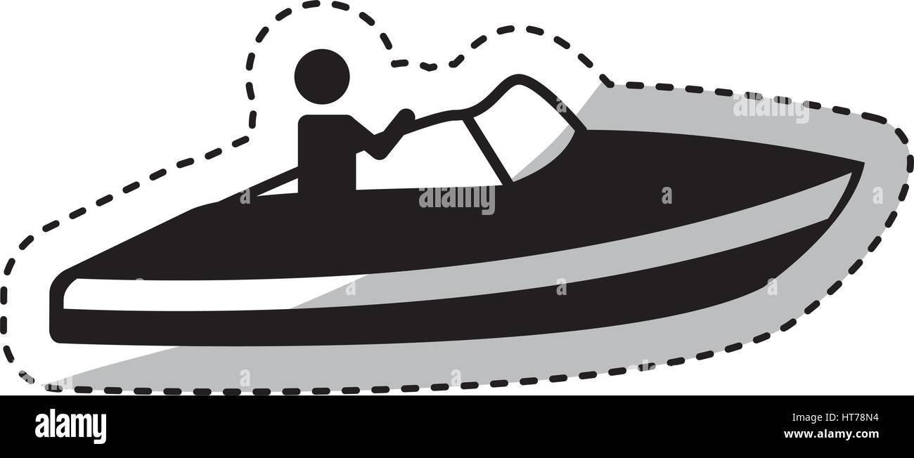 fast boat vehicle icon - Stock Image