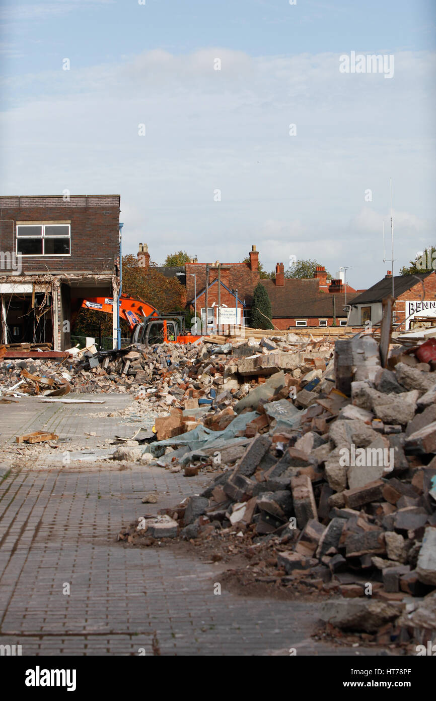 Shops being demolished in Tamworth town centre. To make space for redevelopment - Stock Image