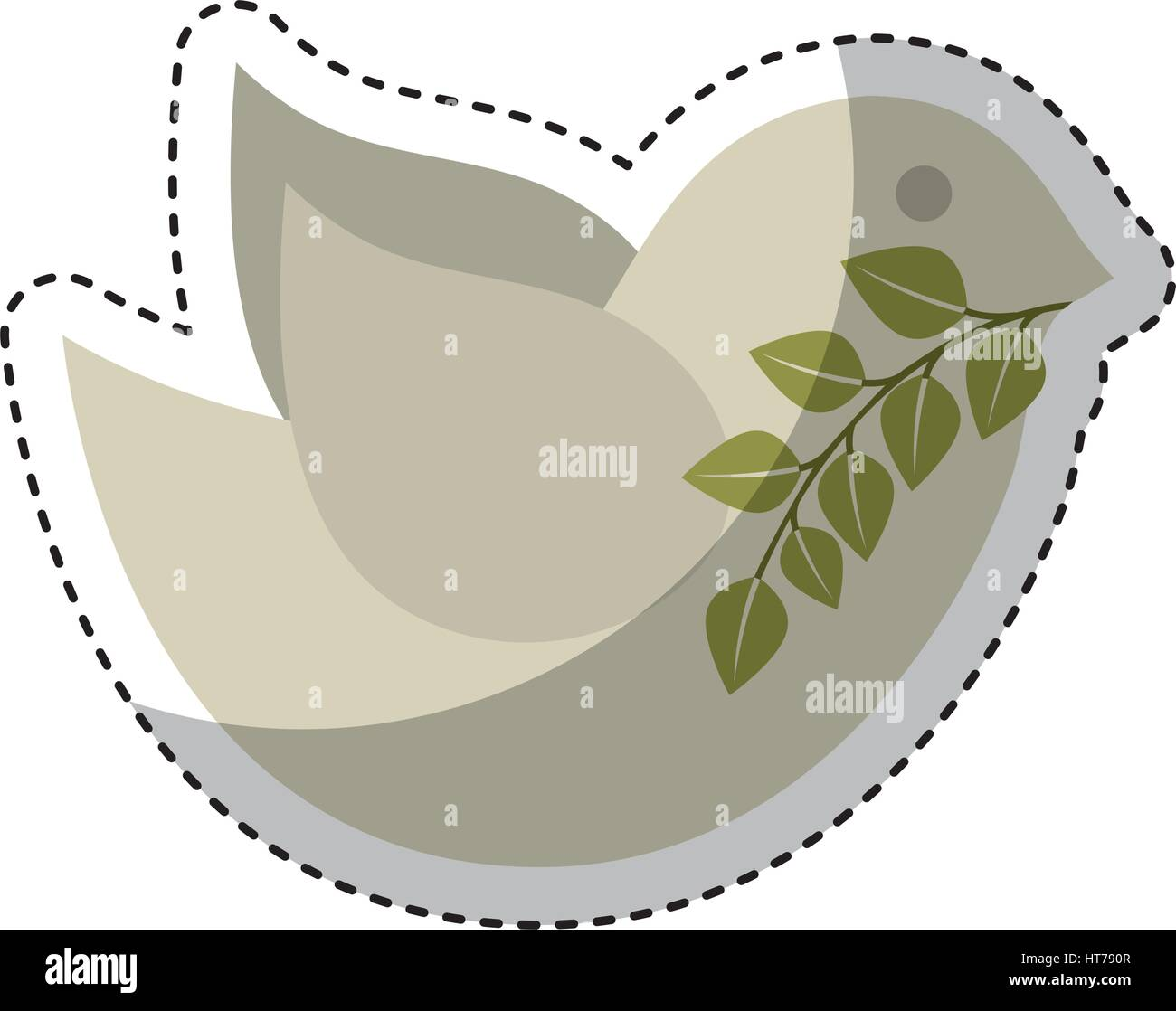 cute bird with olive branch isolated icon - Stock Image