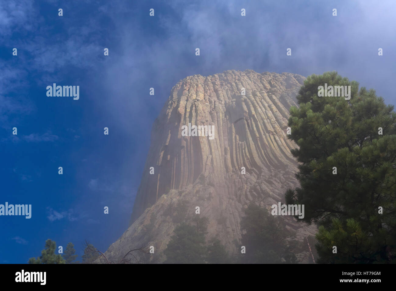 Devils Tower in fog, Devils Tower National Monument, WY, USA - Stock Image
