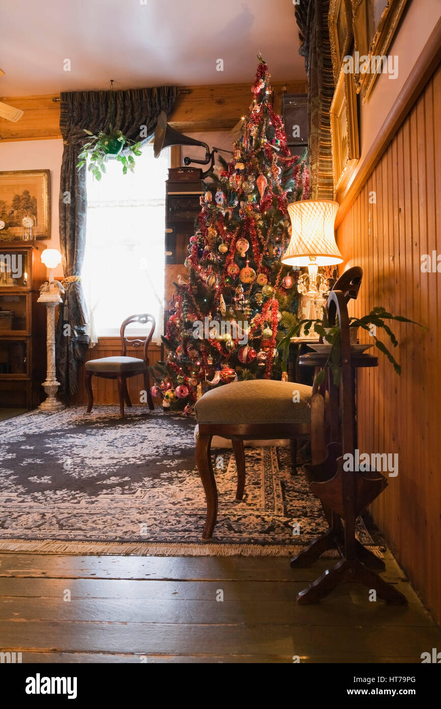 Living Room With Christmas Tree Inside A 1904 Victorian Old House Stock Photo Alamy