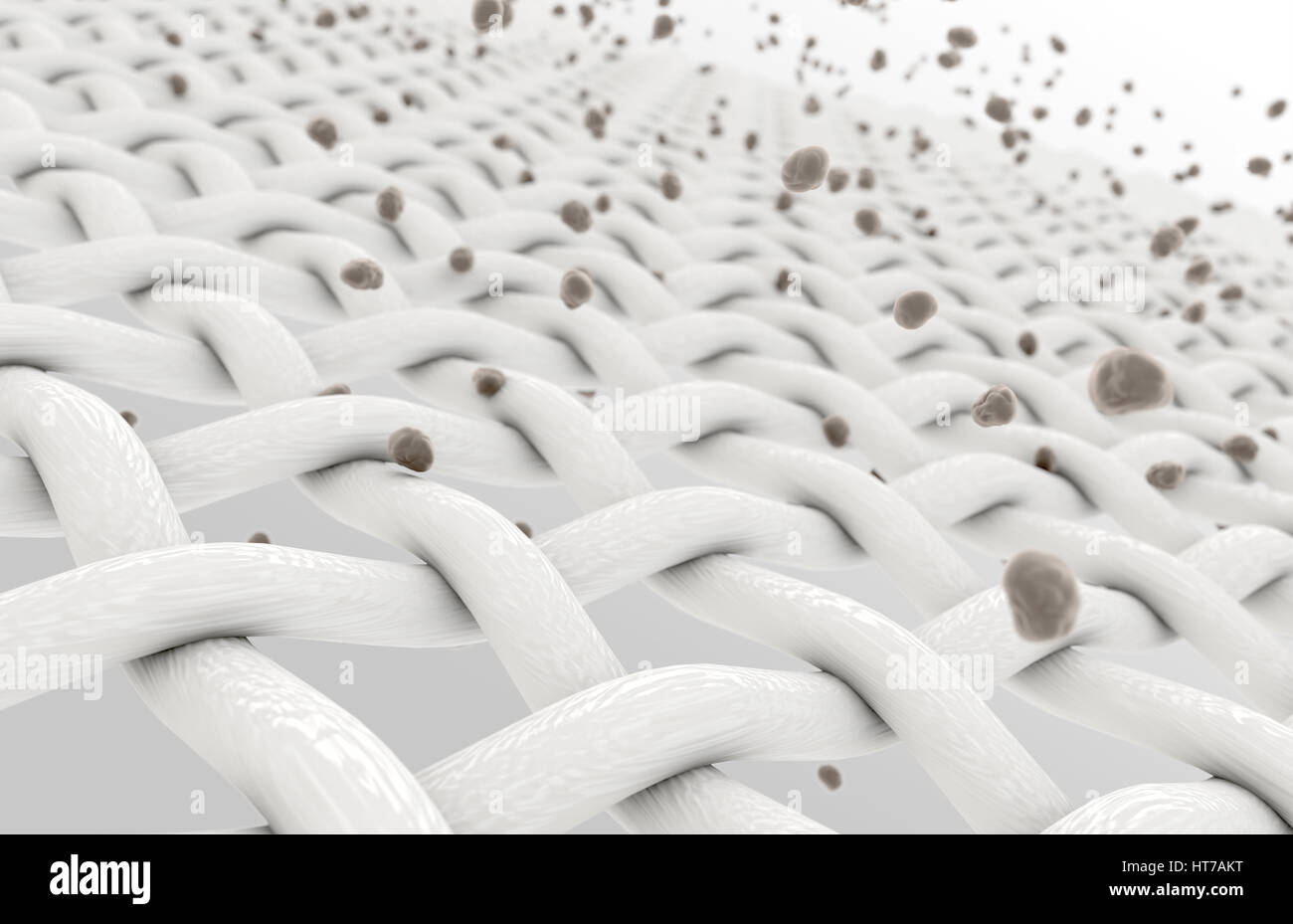 An extreme magnification of white individual fabric threads being penetrated by dirt particles on an isolated background - Stock Image