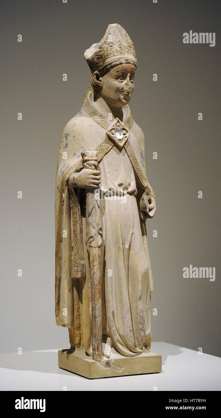 Jordi de Deu (active ca.1363-1418). Spanish sculptor. Sculpture of Saint Eligius, ca.1380. From the Chapel of Sant - Stock Image