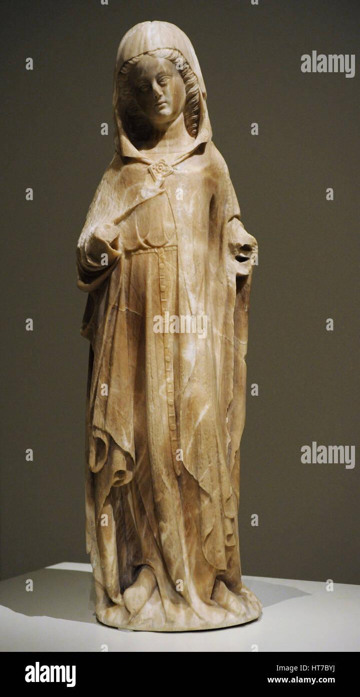 Jaume Cascalls (active 1341-1377/1379). Spanish sculptor. Sculpture of a Virgin. Part of a sculptural group of an - Stock Image