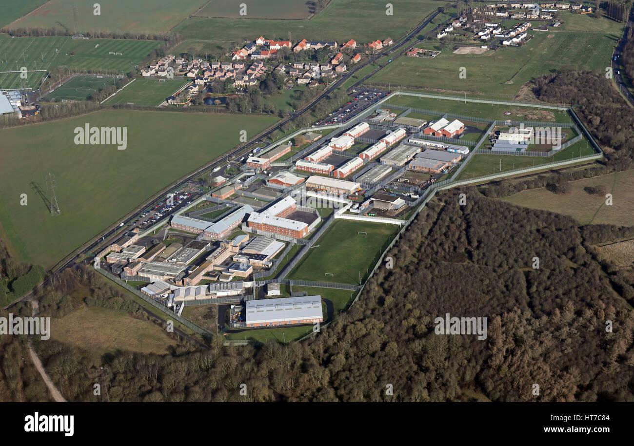 aerial view of HMP Wealstun, Boston Spa, West Yorkshire, UK - Stock Image