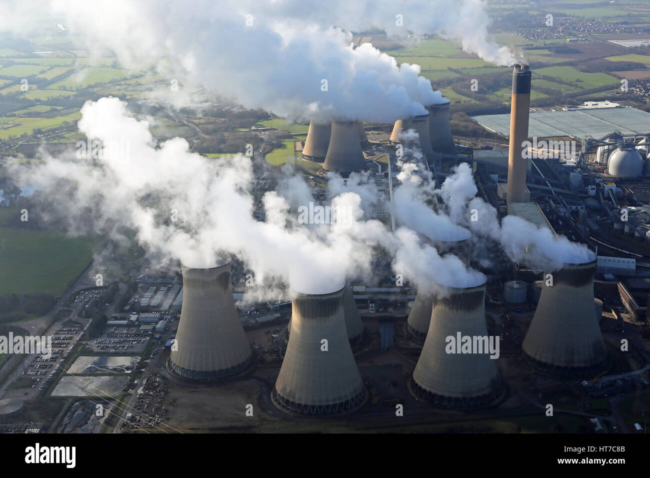 aerial view of Drax Power Station in Yorkshire, UK - Stock Image