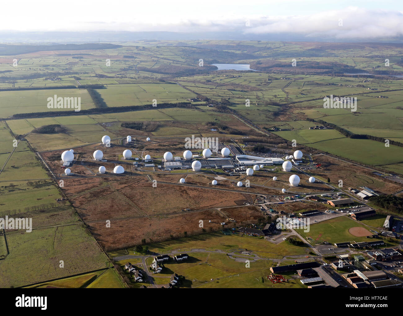 aerial view of the USAF base at Menwith Hill, UK - Stock Image
