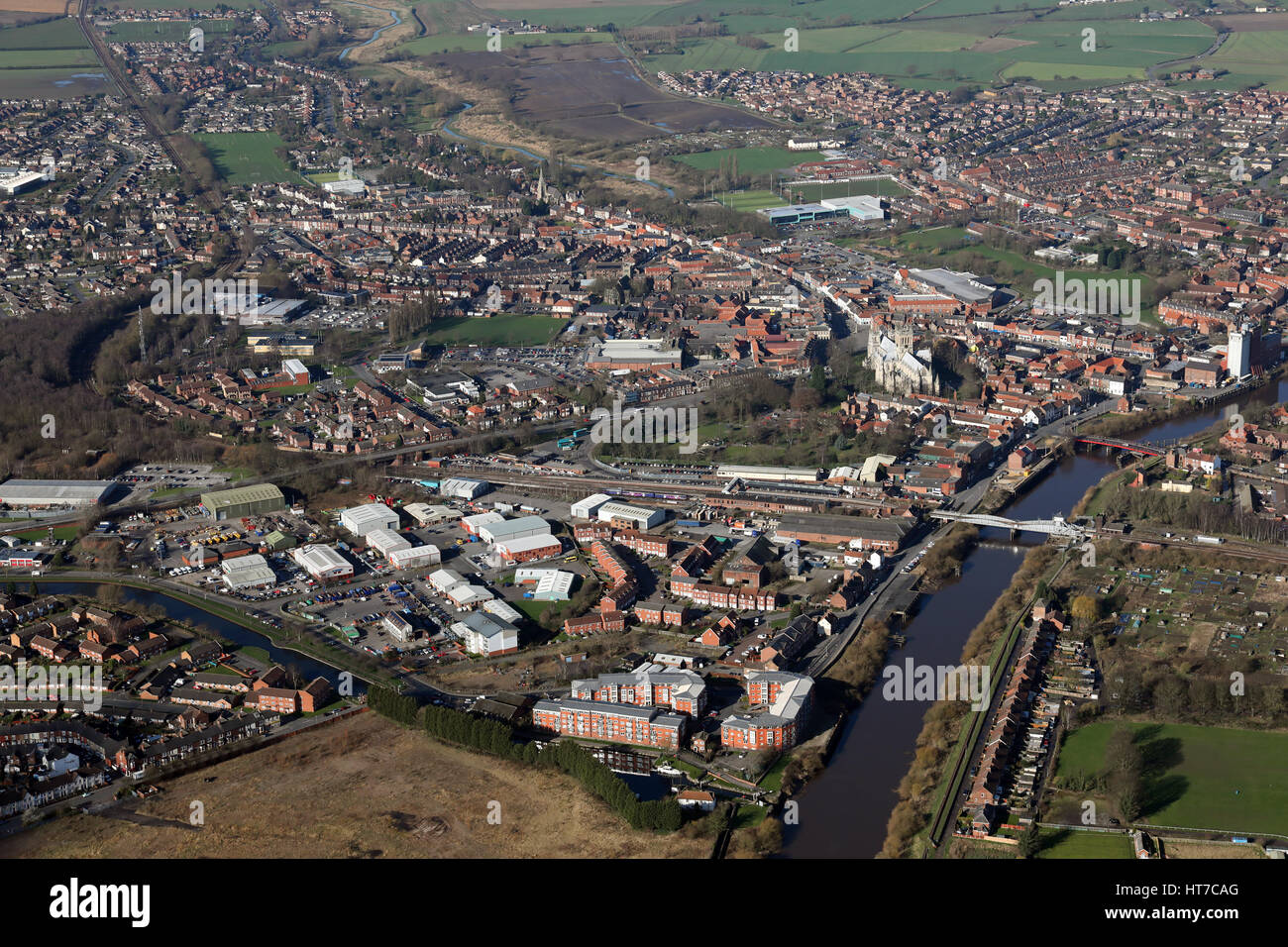 aerial view of the Yorkshire market town of Selby on the River Ouse, UK - Stock Image