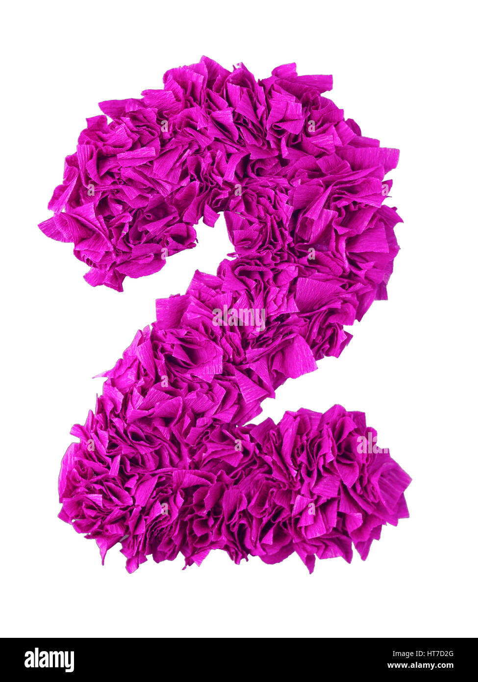 Two. Handmade number 2 from magenta color crepe paper isolated on white background. Set of pink numbers from scraps - Stock Image