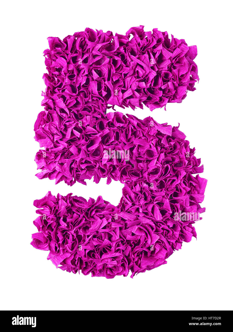 Five. Handmade number 5 from magenta color crepe paper isolated on white background. Set of pink numbers from scraps - Stock Image