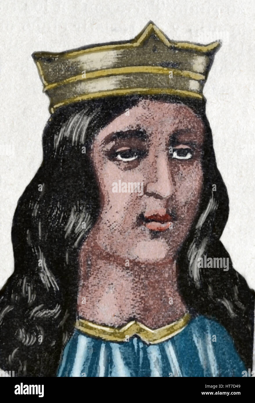 Maria de Molina or Lady of Molina (1265-1321). Queen consort of Castile-Leon from 1284-1295. Portrait. Engraving. - Stock Image