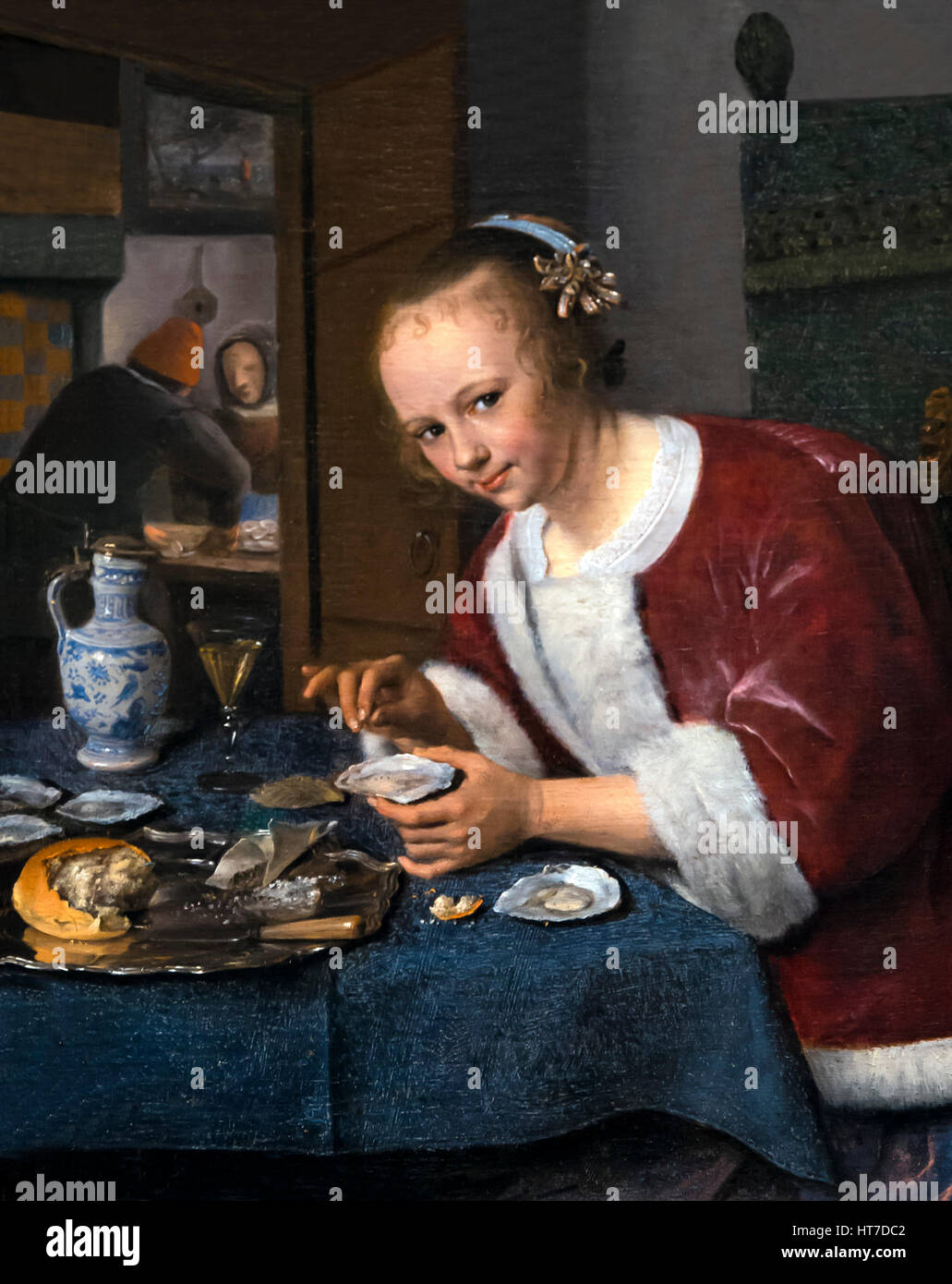 Girl Eating Oysters, by Jan Steen, circa 1660, Royal Art Gallery, Mauritshuis Museum, The Hague, Netherlands, Europe - Stock Image