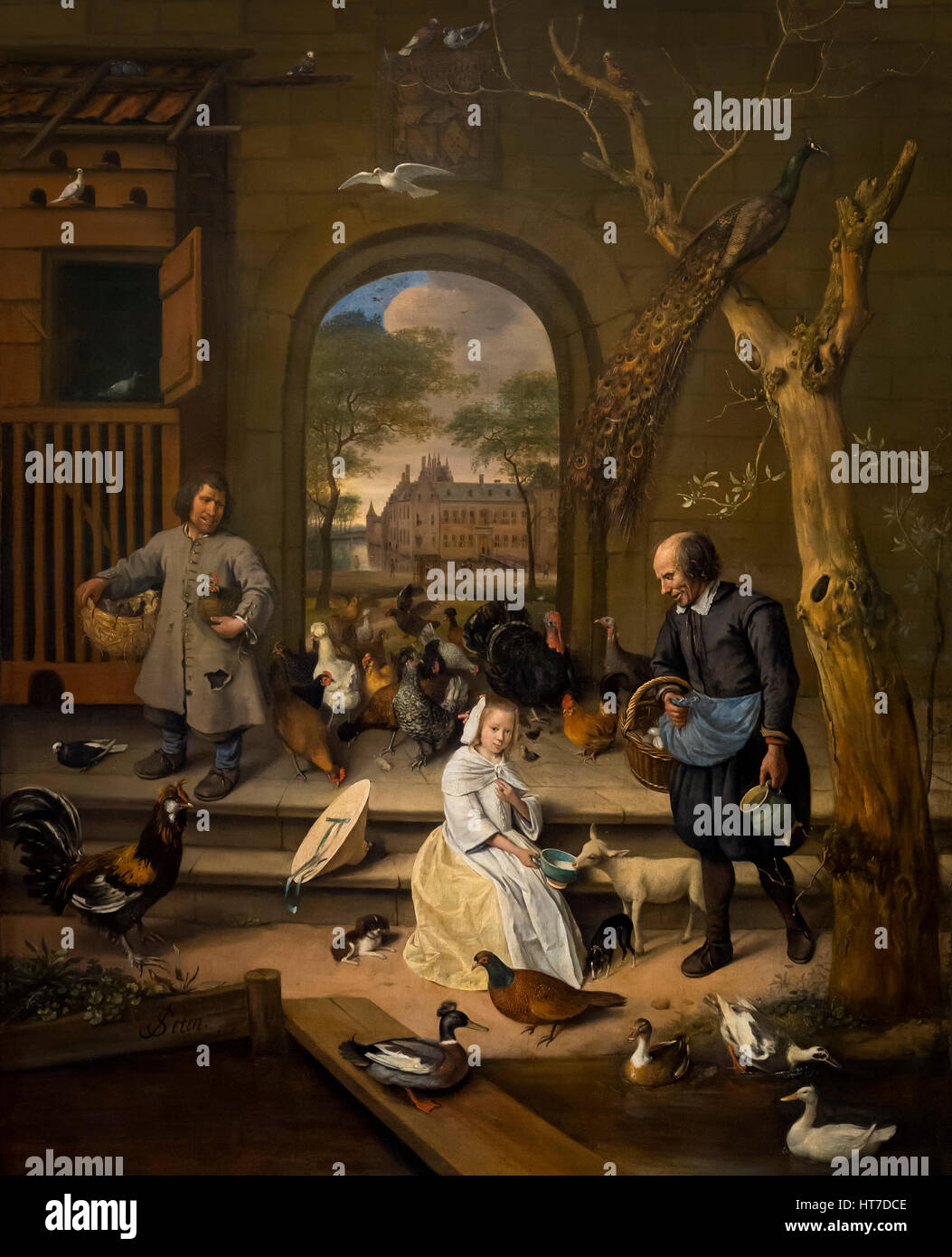 Portrait of Jacoba Maria van Wassenaer, The Poultry Yard, by Jan Steen, 1660, Royal Art Gallery, Mauritshuis Museum, Stock Photo