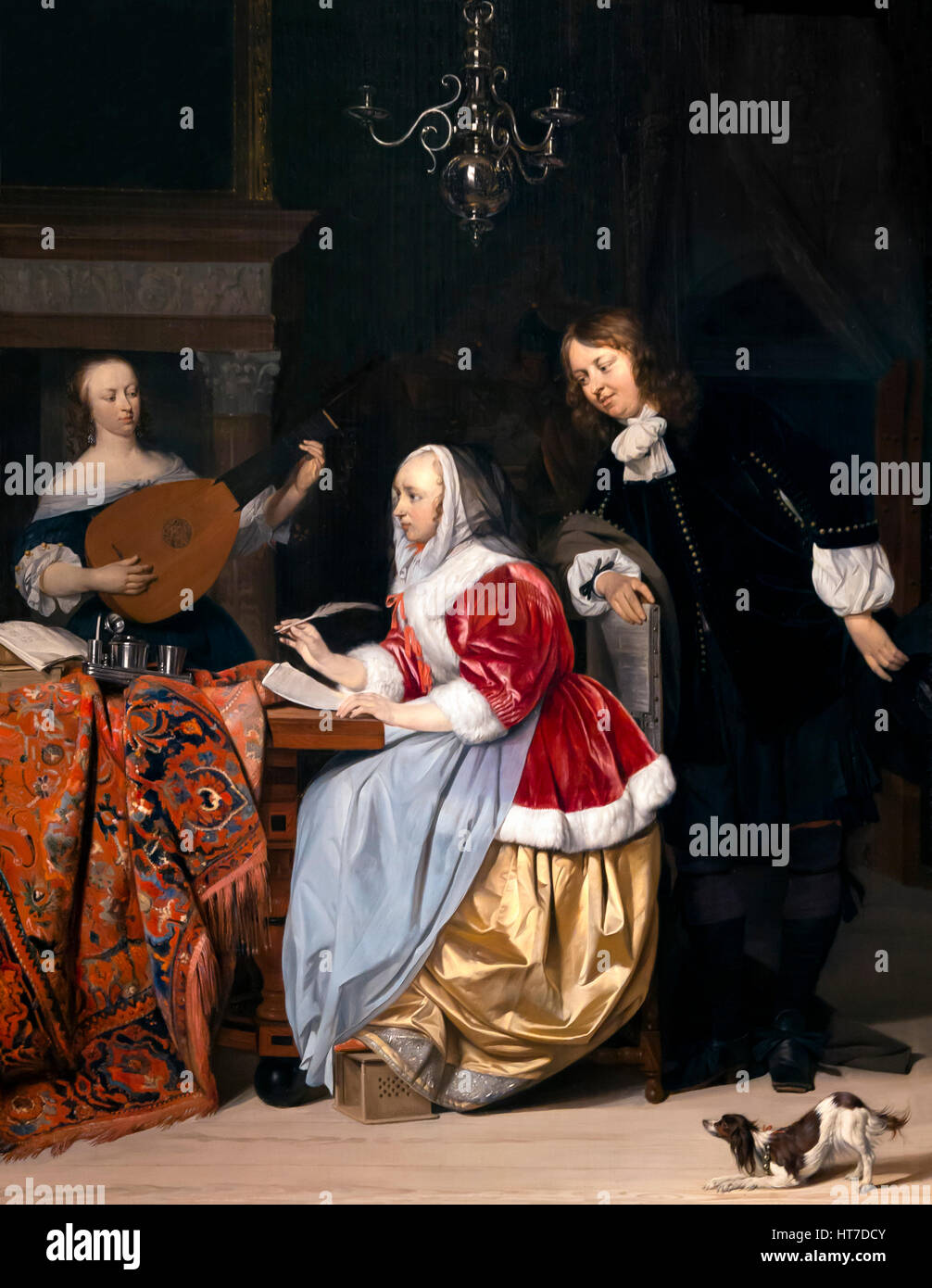 Young Woman Composing a Piece of Music, by Gabriel Metsu, circa 1661, Royal Art Gallery, Mauritshuis Museum, The Stock Photo